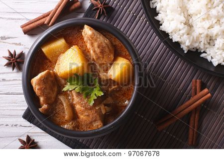 Thai Massaman Curry With Chicken And Rice Closeup. Horizontal Top View