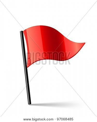 Vector illustration of red triangular waving flag
