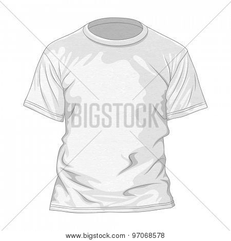 White t-shirt with texture. Design template of tee. Vector illustration