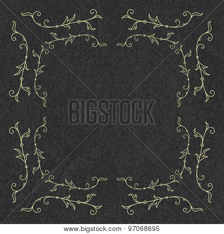 Frame for wedding invitation card template with floral ornaments. Vector illustration