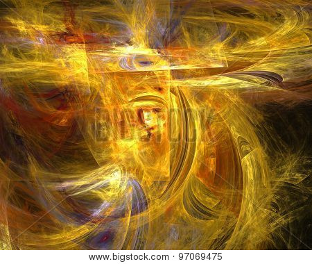Abstract Fractal Design. Yellow, Red And Violet Strokes On Black.