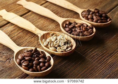 Coffee beans in spoons on wooden background
