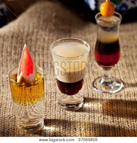 Alcohol Shot Cocktail on Sackcloth
