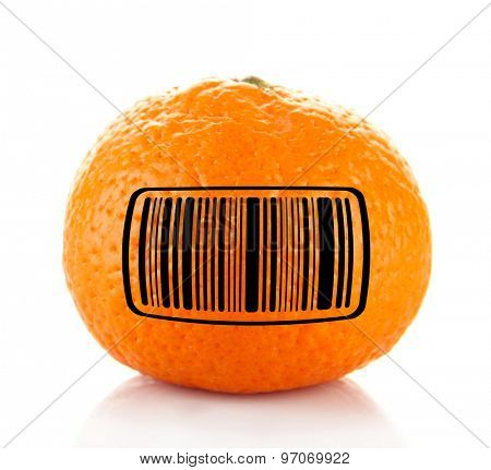 Ripe tangerine with barcode isolated on white