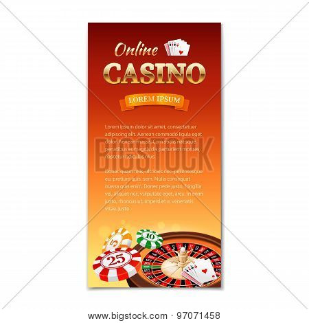 Casino Background. Vertical Banner, Flyer, Brochure On A Casino Theme With Roulette Wheel, Game Card