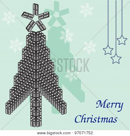 A beautiful tree of dominoes. Christmas card.