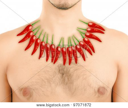 Red hot peppers on man's body, Heartburn concept