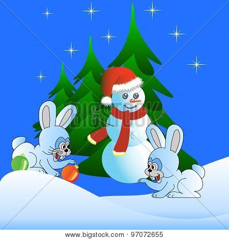 Two white hare and the Snowman