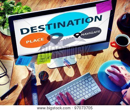 Destination Navigate Exploration Place Travel Concept