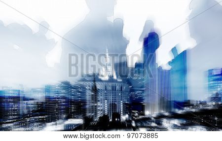 Business People Cityscape Buildings Corporate Concept