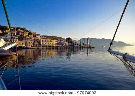 Symi island harbour, Greece at sunrise