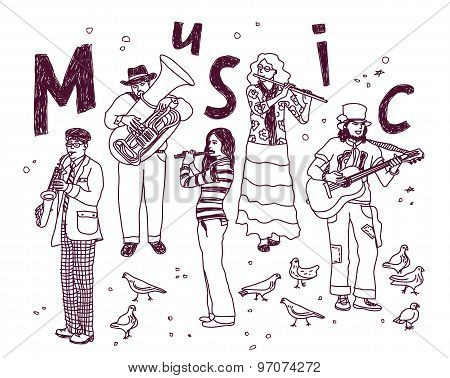 Music group people isolate white ink doodles