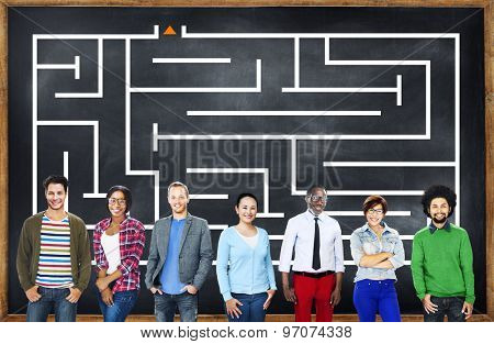 Maze Game Challenge Puzzle Concept