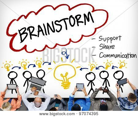 Brainstorming Thinking Support Share Communication Concept
