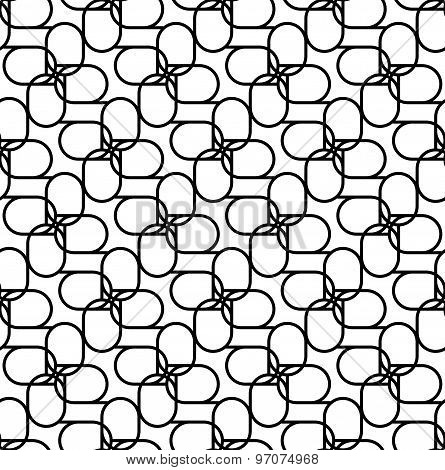 Black And White Geometric Seamless Pattern With Line And Oval, Abstract Background.