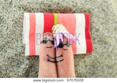 Fingers with funny smiles