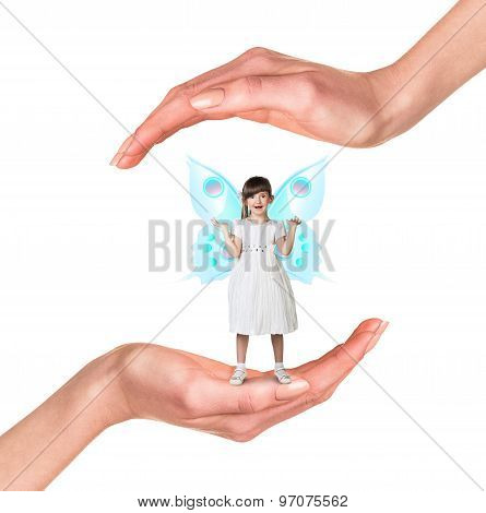 Young girl in hands