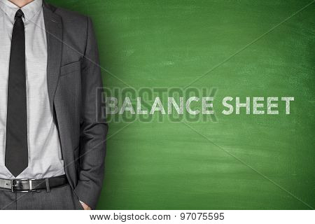 Balance sheet text on blackboard