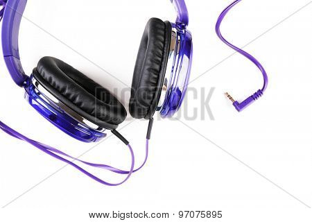 Modern headphones isolated on white