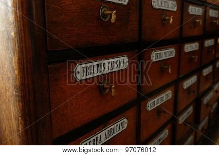 Wooden drawers with labels