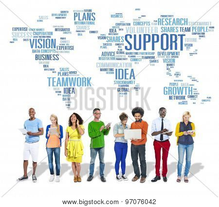 Global People Digital Device Technology Support Concept