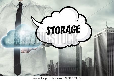 Storage text on cloud computing theme with businessman