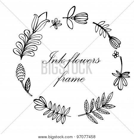 floral frame hand-drawn vector illustration