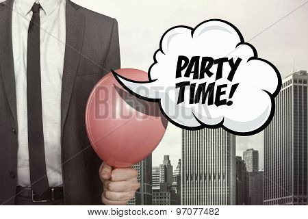 Party time text on speech bubble