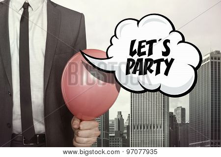 Lets party text on speech bubble