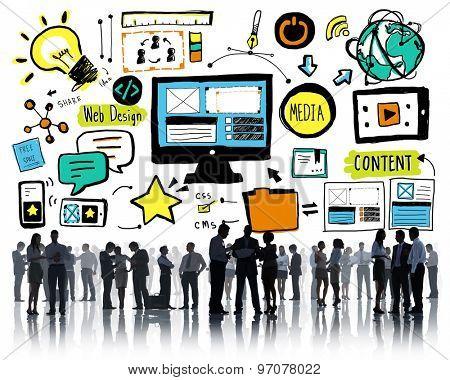 Businesspeople Web Design Content Team Discussion Concept