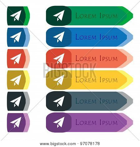 Paper Airplane Icon Sign. Set Of Colorful, Bright Long Buttons With Additional Small Modules. Flat D
