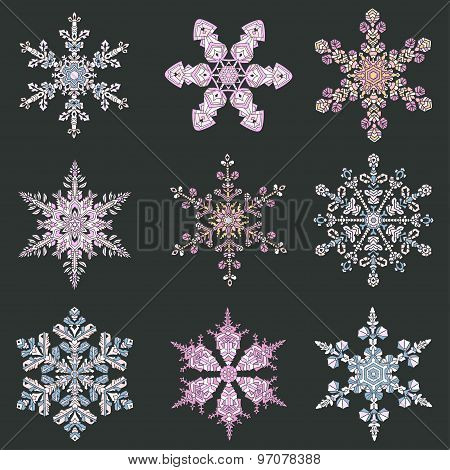 Set Hand-drawn Doodles Color Snowflake. Zentangle Mandala Style.