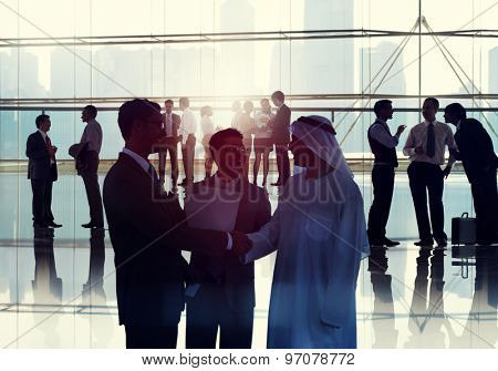 Business People Meeting Room Handshake Global Communication Concept