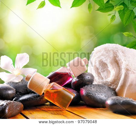 Oil And Essences For Body Care Square Composition