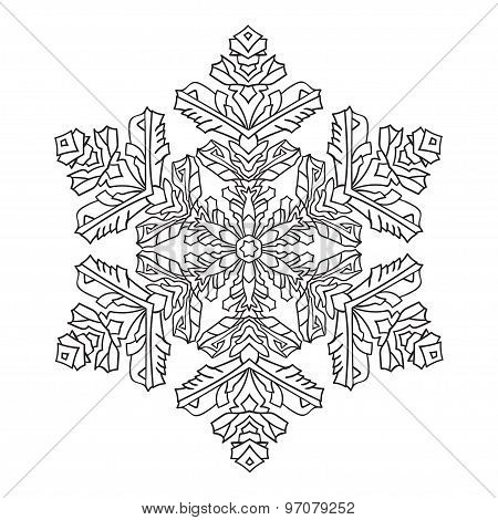Hand-drawn Doodles Natural Snowflake. Zentangle Mandala Style.