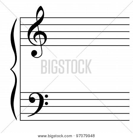 Vector Illustration of a musical stave