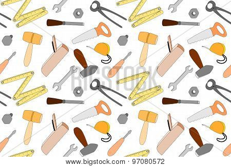 Cartoon Tools on white background, Seamless Pattern, Illustration