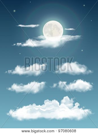 Transparent Realistic Clouds. Night Sky With Moon And Clouds