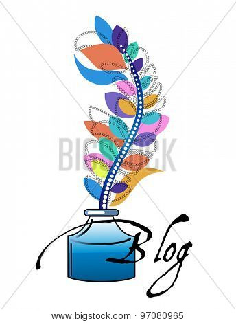Ink Bottle with Feather pen Blog  concept