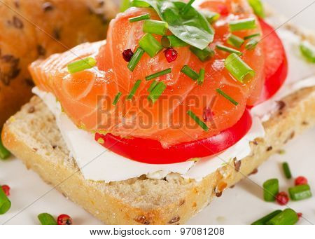 Healthy Sandwich With Cereals Bread And Salmon.