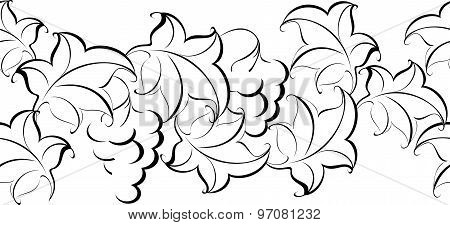 Black and white pattern of branches and grapes. EPS10 vector illustration