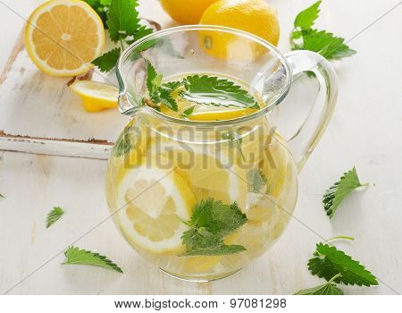 Cold Water With Fresh Lemon And Mint Leaves