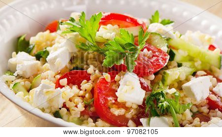 Gluten Free Vegetarian Salad  With  Feta Cheese.