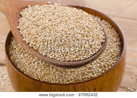 Quinoa Seed In  A Wooden Spoon.