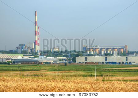 Grain field in front of a power plant.