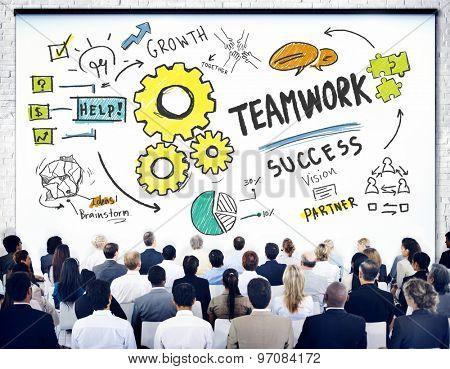 Teamwork Team Together Collaboration Business Seminar Presentation Concept