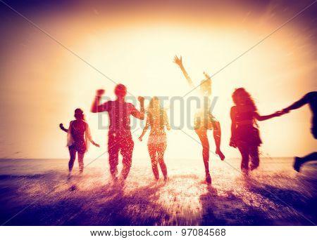 Diverse Beach Summer Friends Fun Running Concept