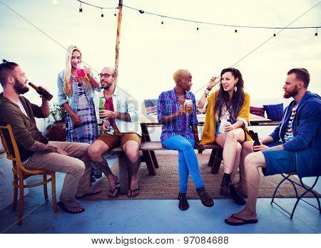 Diverse Summer Beach Roof Top Fun Concept