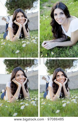 Sequence of photos. Cool girl in the park