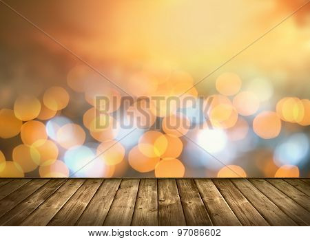 Wooden table and Bokeh light background.
